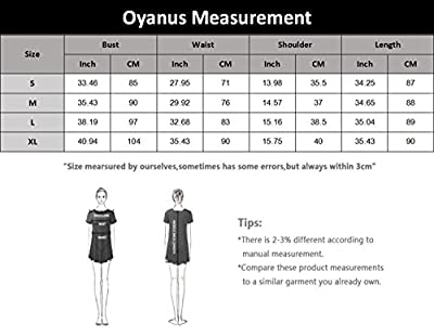 Oyanus Womens 3/4 Sleeve Loose Casual Junior Dresses Fit and Flare Midi Dress