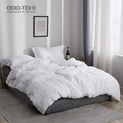 Simple&Opulence 100% Stone Washed Linen Solid Color Basic Style King Queen Twin Full Duvet Cover Sets (White, Queen) (Queen Cover White Plain Duvet)