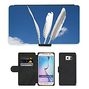 GoGoMobile Flip PU Leather Wallet Case with Credit Card Slots // M00117820 Feather Sky White Slightly Ease // Samsung Galaxy S6 (Not Fits S6 EDGE)
