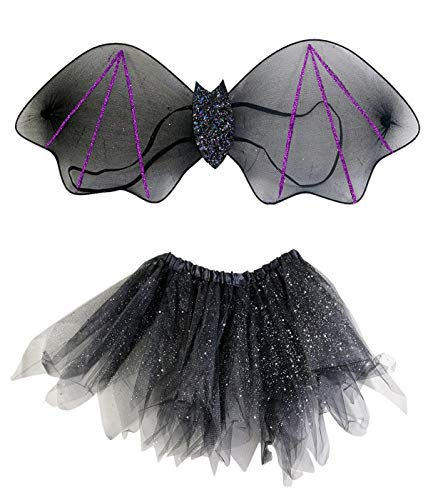 Child's Halloween Bat Costume with Glittery Wings and Sparkly Tulle Tutu