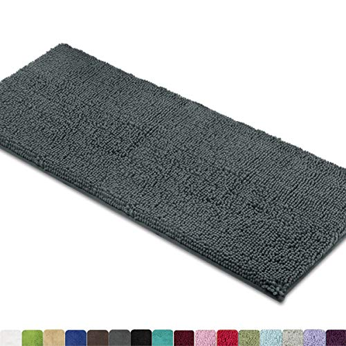 MAYSHINE Bath Mat Runners for Bathroom Rugs (47X27.5 Inches) Long Floor Mats Extra Soft Absorbent Thickening Shaggy Microfiber Machine-Washable Perfect for Doormats Tub Shower-Dark Gray (Bathroom Microfiber Rugs)