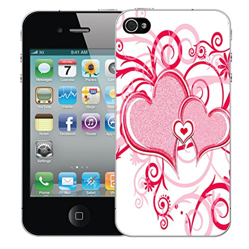 Mobile Case Mate iPhone 5 Silicone Coque couverture case cover Pare-chocs + STYLET - Red Heart pattern (SILICON)
