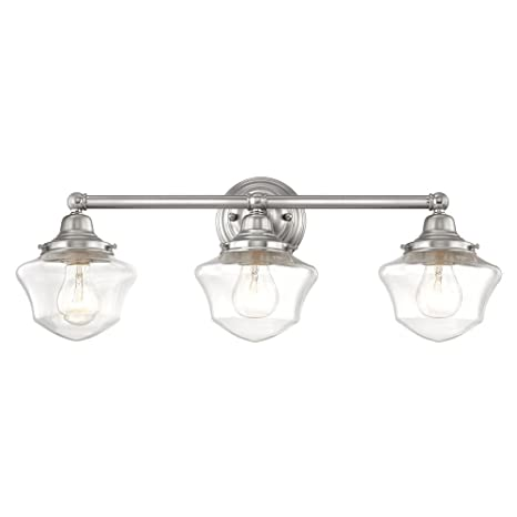 Clear Glass Schoolhouse Bathroom Light Satin Nickel 3 Light 23.125 Inch  Length