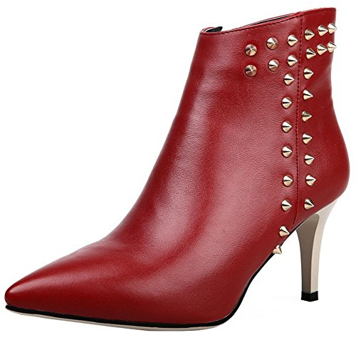 Studded Toe Ankle Red Heeled Zipper Pointed Dressy Women's Booties High Side IDIFU Stiletto High vxqRUEwI