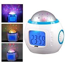 AM MARCH Children Room Sky Star Night Light Projector Lamp Bedroom Alarm Clock Music Clock