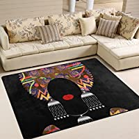 SAVSV Large Area Rugs Portrait Beautiful African Woman Printed,Lightweight Water-Repellent Floor Carpet For Living Room Bedroom Home Deck Patio,68 x 410