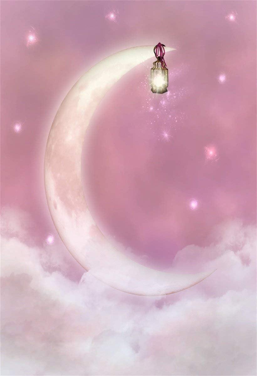 CdHBH 10x12ft Fantasy Crescent Moon Light Sweet Sky Portrait Clothing Photo Photography Background Cloth Festival Venue Party Arrangement Photo Gallery Studio Photo Photography Props