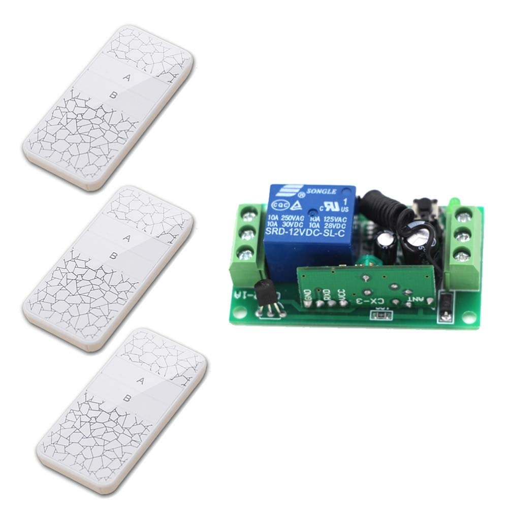 DC12V 315MHZ New Products 1CH Wireless Remote Control Switch 1Receiver +3 Transmitter Relay Remote Controller High Quality  (color  DC12V 315MHZ)
