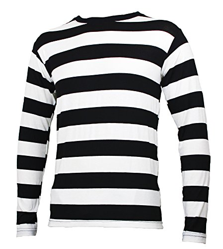 Long Sleeve Striped Shirt Black and White Adult (Small)