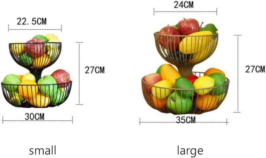 Blanco,White,S Cesto Metal Alambre Fruta Creativo para Conservan Frutas Verduras o Pan,Negro KEOA Frutero 2 Pisos