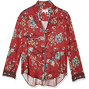 3J Workshop by Johnny Was Women's Red Printed Button Down Shirt Blouse