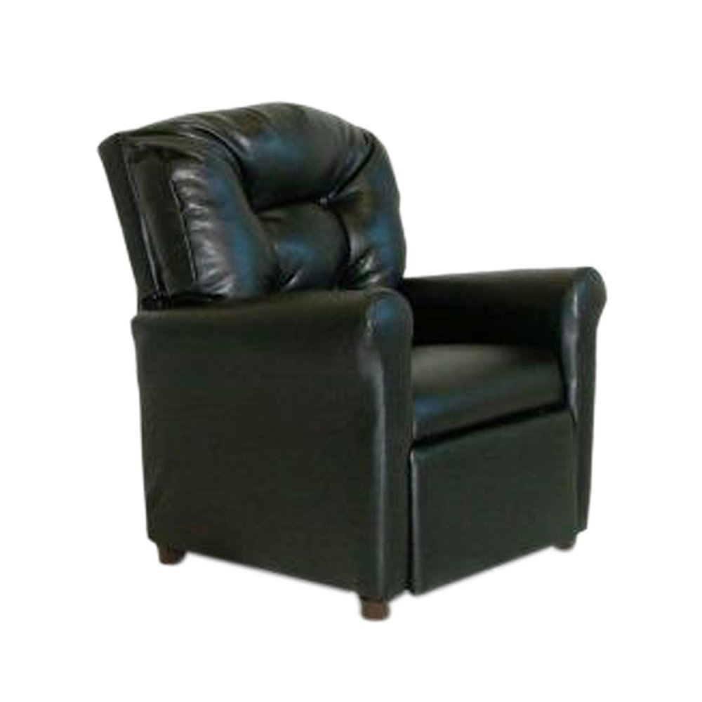 Dozydotes Child Recliner with Cup Holder Black Leather DZD9774