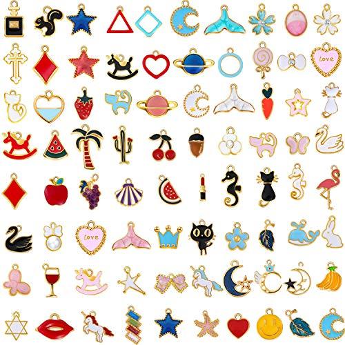 80 Pieces Assorted Gold Enamel Pendants Alloy Enamel Charm Pendants Animal Moon Fruit Star Pendants for DIY Necklace Bracelet Accessories (Charm Pieces Bracelet)