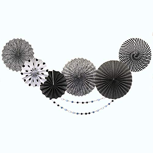 Party Hanging Paper Fans Set, Black Round Pattern Paper Garlands Decoration for Birthday Black & White Hanging Paper Fans Set Pattern/Paper Garlands for Party/Wedding/Birthday/Festival/Christmas/Eve]()