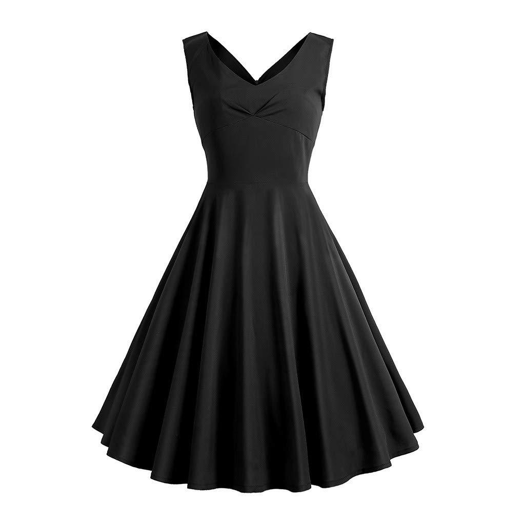 TIFENNY Women's Vintage Print Spring Vintage Country Rock Cocktail Dresses Summer V Neck Sleeveless A-Line Fashion Dresses Black