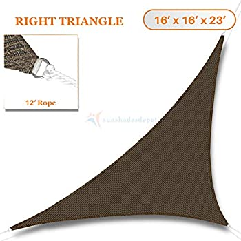 bdb8adb8108 Sunshades Depot 16' x 16' x 23' Sun Shade Sail Right Triangle Permeable  Canopy Brown Coffee Custom Size Available Commercial Standard