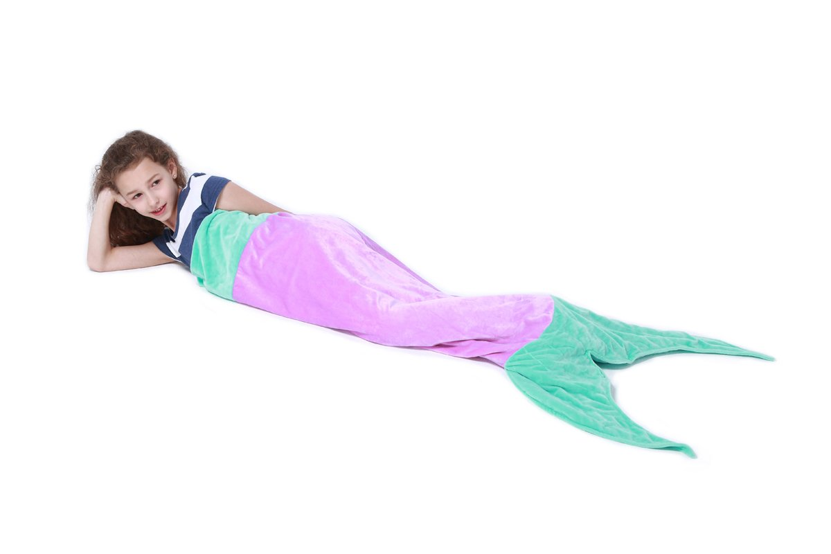 Echolife Super Soft Flannel Mermaid Tail Blanket Slumber Bag, 56 x 20 Inch Kids Girls Nap Sleeping Bag Bed Couch Sofa Blanket (Purple) by Echolife
