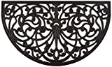 Half Moon Shaped Rubber Scroll Doormat, 18 by 30 by 0.5-Inch