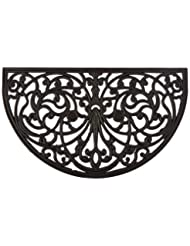 Kempf Half Moon Shaped Rubber Scroll Doormat, 18 by 30 by 0.5...