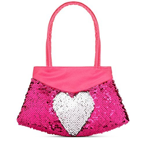 39b0cf5c7bd Kids Mermaid Sequin Toy Purse - Reversible Silver and Pink Sequins -  Handbag for Girls and