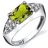 Peridot Ring Sterling Silver Rhodium Nickel Finish Radiant Cut 1.50 Carats Size 8