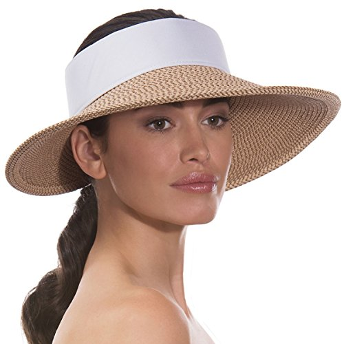 Eric Javits Luxury Fashion Designer Women's Headwear Hat - Squishee Halo - Peanut/White by Eric Javits