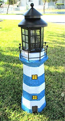 35'' Decorative Garden Solar Light Powered Lighthouse (Sky Blue/White) by MLDZ