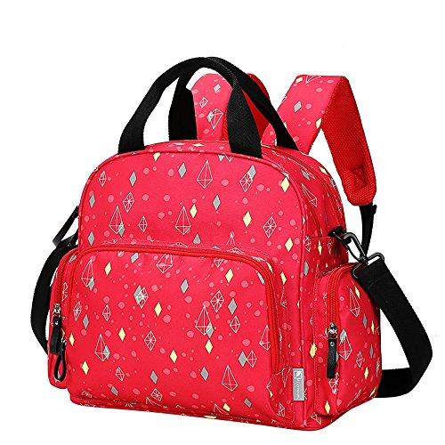 Mummy bolsa multifuncional de gran capacidad multi-compartimento impermeable impermeable pulsera bolsa de bebé bolsa ( Color : Khaki ) Rojo