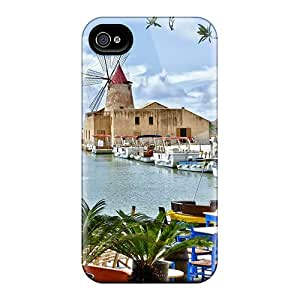 New Shockproof Protection Case Cover For Iphone 4/4s/ Restaurant Overlooking Sicilian Windmill Hdr Case Cover