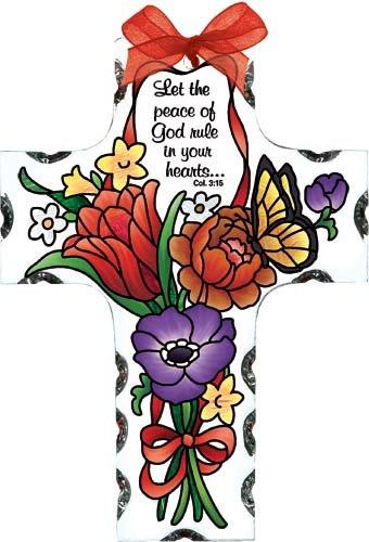 Jewel Bouquet Peace of God Cross Stained Glass Suncatcher (SX2017R)