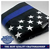 VSVO Thin Blue Line American Flag 2x3 ft with Embroidered Stars - Sewn Stripes - Brass Grommets - UV Protection - Black White and Blue American Police Flag