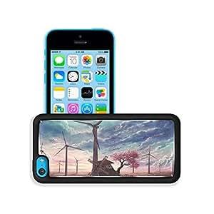 Clouds Wind Turbines Sakura Tree iPhone 5C Case Customized niuniu's case