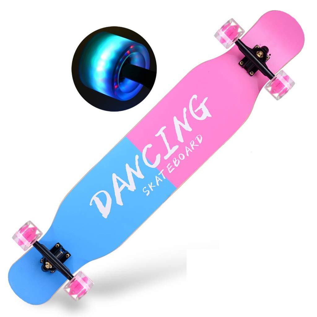 プロのスケートボードコンプリートスケートボードカラフルなライトスケートボード4車輪適した若者大人大人子供女の子男の子初心者 B