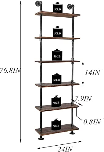 Industrial Pipe Wood Shelves 6 Tier Rustic Wall Ladder Bookshelf Display Storage Stand Shelf Bookcase