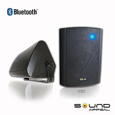 "Bluetooth 5.25"" Indoor/Outdoor Weatherproof Patio Speakers (Black- pair)- by Sound Appeal"
