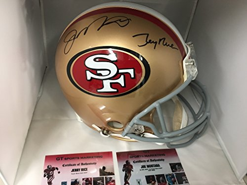 Autographed Authentic Pro Line Helmet (Joe Montana & Jerry Rice Dual Signed Autographed 49ers Full Size Proline Authentic Helmet GTSM Hologram Personal Player Holograms & Dual COA's)