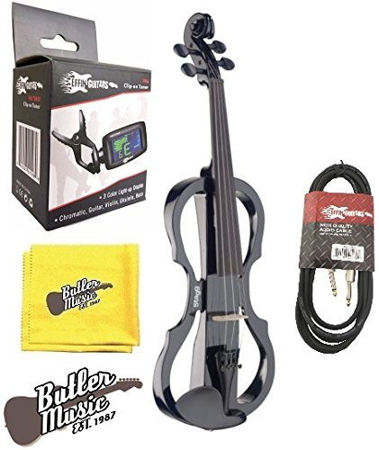STAGG EVN X-4/4 BK 4/4 silent violin electric violin w/Hard foam case & More by Stagg