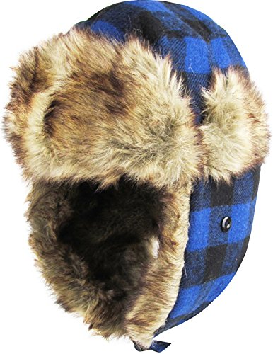 Buffalo Plaid Wool (KBW-604 ROY-BLK Buffalo Plaid Aviator Trooper Trapper Hat Winter Cap)