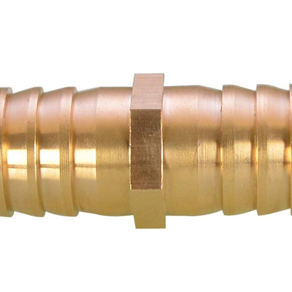 2 Packs HONGLU Brass Hose Fitting Union Barbed Fitting for Water Fuel Air 3//8 Inch ID