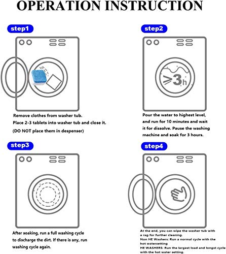 [12 Pack] Taffy\'s Washing Machine Cleaner Effervescent Tablets,Solid Washer Deep Cleaning Tablet, Triple Decontamination Remover with Natural Formula, for Front and Top Load Machines