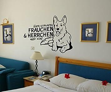 Wandtattoo Schäferhund Spruch schlafen Frauchen und ich Aufkleber deutsch  Shepherd Dog Hund Schlafzimmer 1B117, Farbe:Schwarz Matt;Breite vom ...