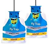 10. Raid Fly Trap (2-Pack), Outdoor Fly Trap, Disposable Fly Trap Bag, House Fly Trap with Food-Based Attractant, Hanging Fly Bag, 2 Home Fly Trap Bags, Outside Fly Control for Home, Hanging Fly Bait Bags