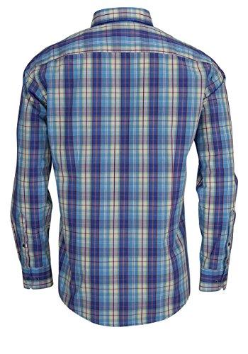 VENTI Slim Fit Hemd Langarm Multikaro blau