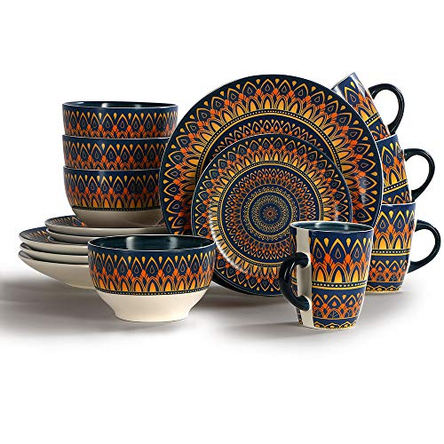 16-Piece Tableware Vibrant Ceramic Dinnerware Set,Spanish/Mexican Floral Design, Multicolor, Service for 4