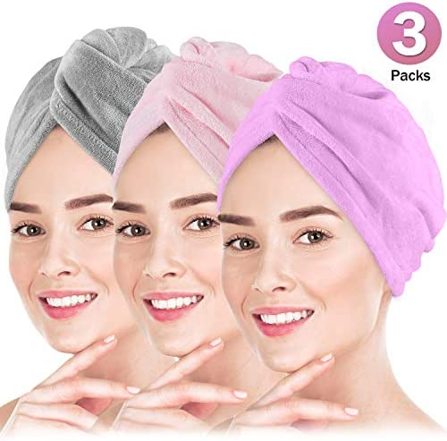 Microfiber Hair Towel Wrap POPCHOSE 3 Pack Ultra Absorbent, Fast Drying Hair Turban Soft, Anti Frizz Hair Wrap Towels for Women Wet Hair, Curly, Longer, Thicker Hair Gray, Pink, Purple
