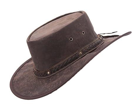 fb73fe6d72510 Barmah Real Kangaroo Leather Hat Made in Australia Brown  Amazon.co.uk   Clothing