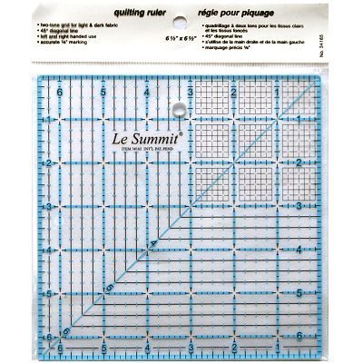 Patchwork & Quilting Ruler with Grid 6.5 inch x 6.5 inch (same size as Omnigrid) by Le Summit by Le Summit
