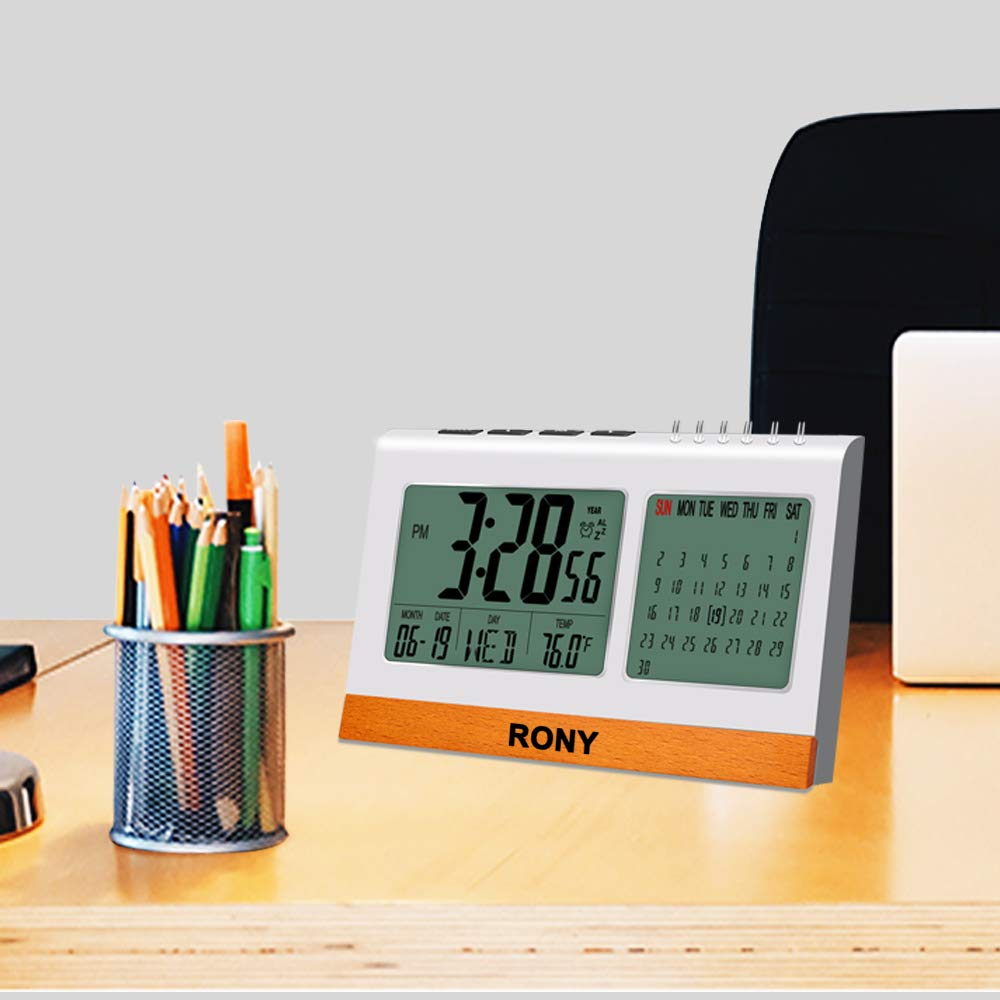 Digital Alarm Clock Battery Operated for Heavy Sleeper, Kids, RONY Desk Clock for office with Snooze, Calendar, Temperature Display(℉/℃)