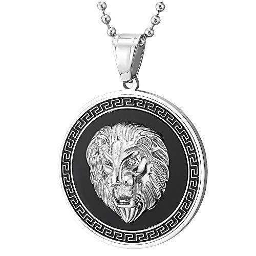 COOLSTEELANDBEYOND Men Steel Lion Head Circle Medal Pendant Necklace with CZ, Black Onyx, Greek Key, Silver Black