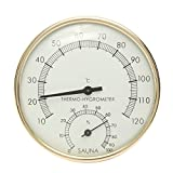 """CoCocina 3.9 Stainless Steel Gold Edge Sauna Room Thermometer Hygrometer -0°C~120°C"""""""